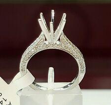 0.46 Ct Genuine Diamond 14k White Gold Semi Mount Engagement Ring Round 1-1.5 Ct
