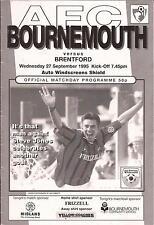 Football Programme - Bournemouth v Brentford - Auto Windscreens Shield - 1995