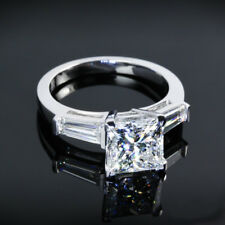 Three Stone Solitaire .89 Carat Princess Cut Diamond Engagement Ring White Gold