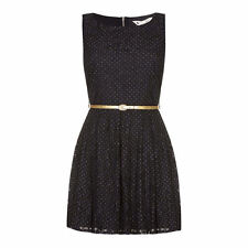 Womens Yumi Blue Lace Gold Spots Black Skater Dress Gold + Belt Size 12 rrp £120