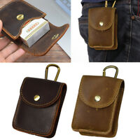 Vintage Genuine Leather Belt Small Waist Bag Men's Cowhide Cigarette Pouch Case