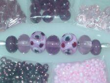 Pink Purple Handmade Lampwork Glass Crystal Focal Spacers Seed Bead Lot 3685