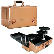 Beauty Makeup Train Case Cosmetic Arts & Crafts 6 Extendable Trays Rose Gold Dot