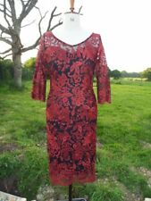 Gorgeous PER UNA Embroidered Wine Lace Overlay Occasion Dress UK 12 BNWT RRP £90
