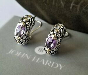 JOHN HARDY Jaisalmer 18K Gold & Purple Amethyst Earrings - Pristine Condition!