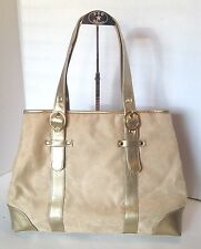 Elizabeth Taylor Tan Faux Suede W/ Ice Blue Lining Purse Tote Bag