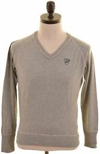 DIESEL Mens V-Neck Jumper Sweater Small Grey Cotton  AS06