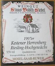Etiquettes vin ALLEMAGNE Klaus Brosch-Kiebel KESTENER HERRENGERG 97 wine labels