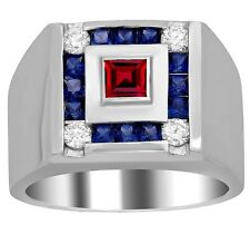 925 Sterling Silver Natural Faceted Sapphire & Ruby Ring For Man Size 8 To 12