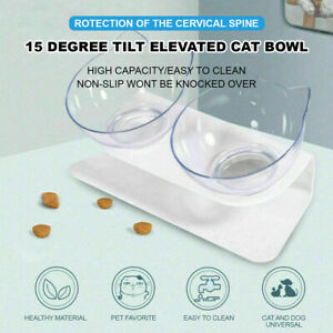 15 Degree Tilted Elevated Pet Double Bowl Dog Cat Food Water Feeder Lifted Stand