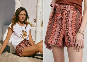 Anthropologie Eva Franco Textured Shorts Tie Belt Cotton Blend Red Orange NWT 10