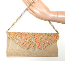 BOLSO oro strass ámbar cristales mujer pochette shimmer cadena plata clutch G56