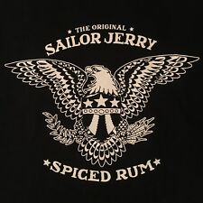 official SAILOR JERRY RUM promo t shirt--SMOOTH AS HELL--black 2 sided--NEW--(L)