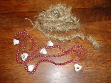 Vintage Feather Tree 10' Tinsel Garland &Strand Red Bead Mercury Glass W/Bells