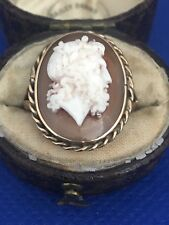 Antique Carved shell Cameo Ring in 14K Yellow Gold