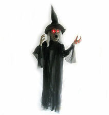 """64"""" Talking Evil Witch Lighted Eyes & Shaking Motion Hanging Halloween Prop"""