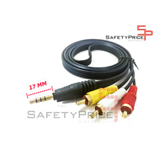 CABLE AUDIO Y VIDEO ESTEREO JACK 3,5mm - 3 x RCA MACHO a JACK Largo (17mm)