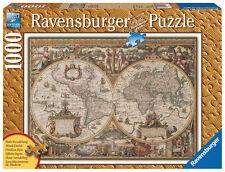 1000 Teile Ravensburger Puzzle Antike Weltkarte - Holzstruktur 19004