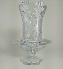 Glass hurricane candle holder. Cut crystal glass beautiful etching