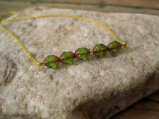 Olive Green Gold Necklace Czech Glass Cathedral Lantern Beads Handmade USA