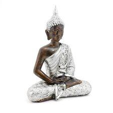 Buddha Statue Protection Posture Meditating Bronze Antique Silver Resin LP29840