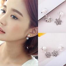 Fashion Elegant Women Plated Flower Crystal Rhinestone Ear Stud Earrings Silver