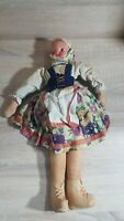"VINTAGE 1950'S POLISH CLOTH DOLL WITH CELLULOID FACE 14"" TALL MADE IN POLAND"
