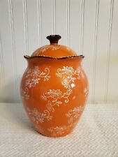"""New listing Temp-tations By Tara Floral Lace Canister Cookie Jar In Spice Orange 9"""" Tall"""