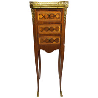 1 French Louis XVI Style Marble Top Gallery Satinwood Marquetry Bed Side Table