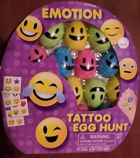 Emoji Emotion Tattoo Egg Hunt -16 eggs w/4 tattoos each 3 yrs+ New 2016