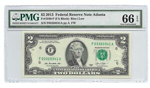 2013 $2 ATLANTA FRN, PMG GEM UNCIRCULATED 66 EPQ BANKNOTE