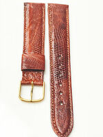 Genuine Lizard Red Brown Tone Leather Band 16mm Gold Tone Buckle