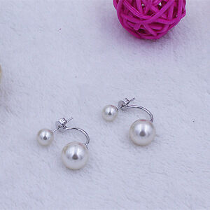8/10/12mm Women's Sea Shell Pearl Ear Studs White Gold Filled Jewelry Earrings