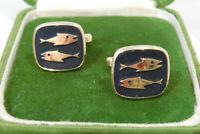 Vintage Black Enamel Fish design Pisces Zodiac Gold tone Cuff Links 5g 75