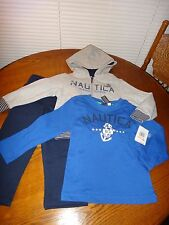 NAUTICA Boys 3pc SET MARINER DIVISION Hoodie Jacket Pants Top Gray Navy Blue 2T