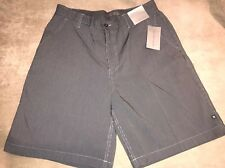 NWT Men Geoffrey Beene Shorts Classic Fit Flat Front Striped Navy White Sz 34