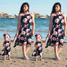 UK Mother and Daughter Family Matching Floral Womens Girls Long Rose Beach Dress