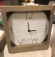 "RAE DUNN Artisan Collection LL ""WELCOME"" 9"" Ceramic Wall Clock By Magenta NEW!!"