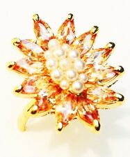 USA RING use Swarovski Crystal GOLD Sizable adjustable 18K Gold plated Pearl