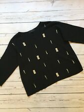 Next Jumper 14 Black Box Fit Top With Jewel Pattern Accents Long Sleeve Fancy