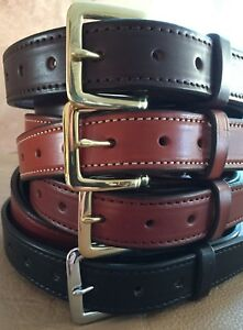 "1-1/2""Plain Stitched Real Genuine Leather Casual Dress Belt Strap*Amish USA Made"