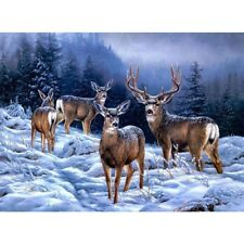5D Full Drill Diamond Painting Cross Stitch Embroidery Xmas Home Decor Elk Deer