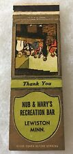 Lewiston Minnesota NUB & MARY'S RECREATION BAR @@ Matchbook Cover ... Old!