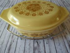 """RARE VTG """"KIM CHEE"""" PYREX Promo Cov. Casserole Dish W/ Corning Ware trivet"""