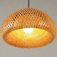 Bamboo Wicker Rattan Lampshade Hand-Woven Double Layer Bamboo Dome Lampshade J7L