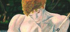Fisherman Male Figure Original Blue White Brown Green Pastel Pencil Art Drawing