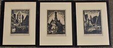 Set 3 Original Carl Thiemann Woodcut Prints Signed German Village Scenes NICE