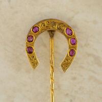 Gold Stick Pin - 15ct Yellow Gold Ruby Patterned Horseshoe Stick Pin