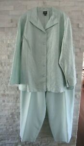 Eileen Fisher Robin's Egg Aqua Crinkled Silk Jacket Cropped Pants Outfit Set 2X