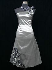 Cherlone Grey One Shoulder Prom Ball Evening Wedding Bridesmaid Dress Size 16-18
